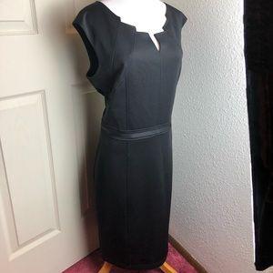Ellen Tracy. Black sheath zip back dress. 16